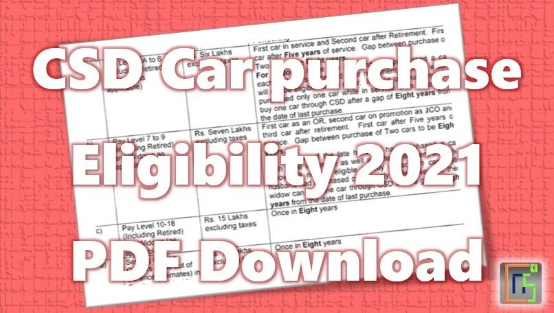 CSD Car purchase Eligibility 2021 PDF Download