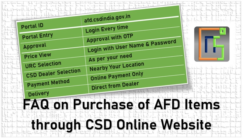 FAQ on Purchase of AFD Items through CSD Online Website